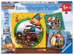 Ravensburger 94097 Puzzle Wickie der kleine Wikinger, 3x49 Teile